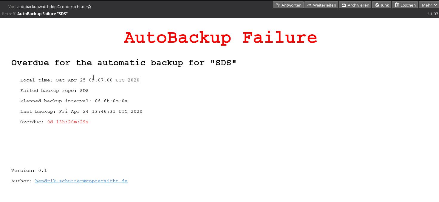 Screenshot of email